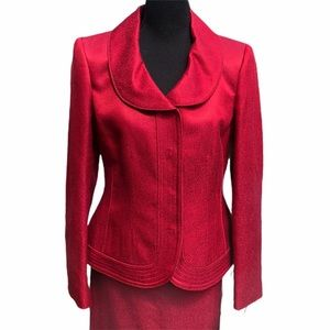 Albert Nipon Red Long Sleeve Skirt Suit